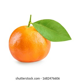 Mandarine fruit. Clementine with  green leaf isolated on white background