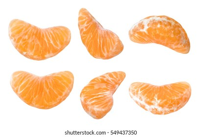 Mandarine slice shot on different point of view. Isolated on white background without shadow. Set of ripe mandarine slice. Closeup shot. Macro photography. Close-up photography of mandarine slice.
