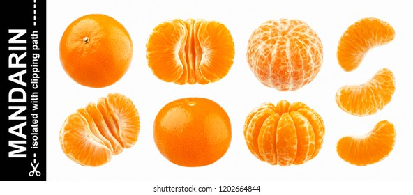 Mandarine, tangerine or clementine isolated on white background with clipping path. Collection