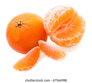 Mandarines on the white background