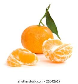 mandarins fruits isolated food on white background