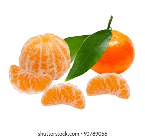 Mandarins isolated on white background
