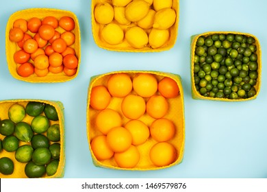 Mandarins, lemons, limes, calamansis or Philippine limes and oranges in yellow square baskets over a light blue background.
