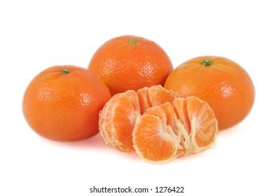 Mandarins on white background.