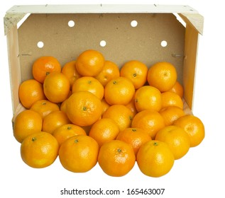 mandarins in the wooden box isolated on white background