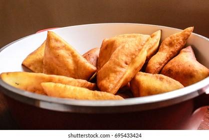 Mandazi, African Doughnut,in a dish