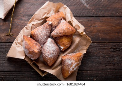 Mandazi is a slightly sweet East African Street Food. top view from above