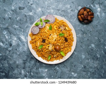Mandi Kabsa - Arabian chicken with almond and rice.