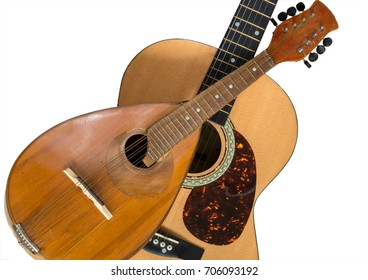 Mandolin and guitar isolated on a white background. Stringed musical instruments.