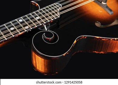 Mandolin isolated on black background. Music concept. - Shutterstock ID 1291425058