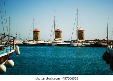 Mandrake harbor, three windmills, Rhodes Island, Greece. Added noise