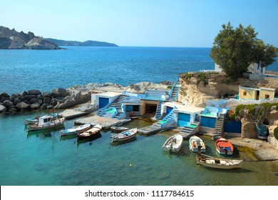 Mandrakia village with his colourful houses and fishing boats in Milos island in Greece