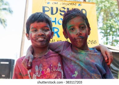 MANDREM, GOA, INDIA - MARCH 27, 2013: Unidentified children celebrate Holi on MARCH 27, 2013 in Mandrem.