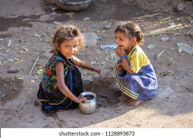MANDU, INDIA - FEBRUARY 03, 2017 : Unidentified Indian poor children on the street. Poverty is a major issue in India