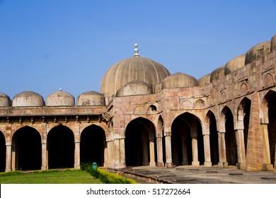 MANDU, MADHYA PRADESH, INDIA - 16 OCTOBER 2011 : Jama Masjid in Mandu is a ruined ancient city on October 11, 2011 in Mandu, India. Most majestic building in Mandu,