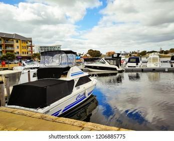 Mandurah, Australia - 3 September 2017 : Boats and yacht parking at the Mandurah Ocean Marina.