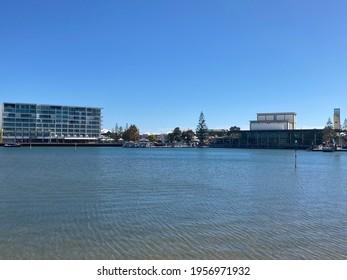 Mandurah, Perth, Western Australia - April 10th 2021 : The Sebel Mandurah. The ultra-modern 4-star hotel with beautiful water views overlooking Mandjar Bay. It is a waterfront paradise.