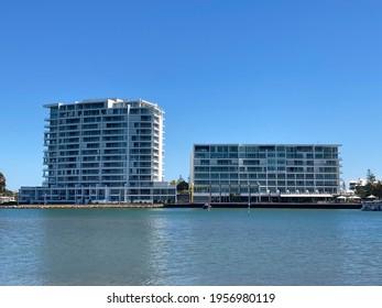 Mandurah, Perth, Western Australia - April 10th 2021: The Sebel Mandurah. The waterfront paradise located south of perth.