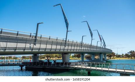 Mandurah, WA / Australia - 02/07/2020. The new Mandurah Traffic Bridge has increased traffic capacity and provides the community with an iconic structure.