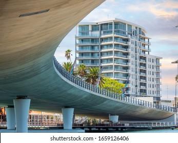 Mandurah, WA / Australia - 02/07/2020. The new Mandurah Bridge with One Brighton Apartments in the background.
