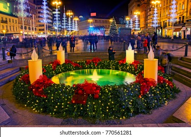 "Mandusevac fountain on Ban Jelacic square  decorated with advent wreath as part of ""Advent in Zagreb"""