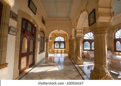 MANDVI, KUTCH, GUJARAT, INDIA 7 OCTOBER 2015 : Interior of Vijaya Vilas Palace, famous summer palace of Jadeja Rajas of Kutch located on sea-beach of Mandvi, top most tourist attraction.