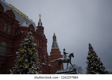 Manege/Manezhnaya Square, Moscow, Russia -January 5th 2018- view to State  Historical Museum,monument to warlord/ marshal Georgy Zhukov and Arsenalnaya Tower at the Corner of Moscow Kremlin. editorial