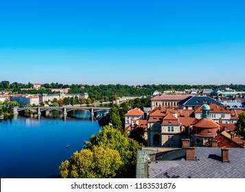 Manes Bridge and Vltava River, Prague, Bohemia Region, Czech Republic