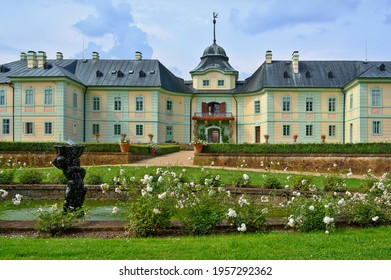 Manetin Castle in the town of the same name in the northern part of the Plzen-nord district in the Czech Republic. - Shutterstock ID 1957292362