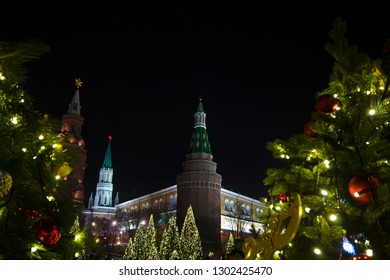 Manezhnaya/ Manege Square, Moscow, Russia-January 10th 2018-view to State Historical Museum, monument to warlord/ marshal Georgy Zhukov and Arsenalnaya Tower at the Corner of Moscow Kremlin. editorial