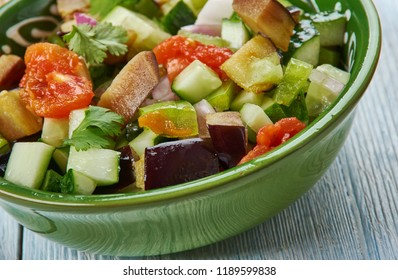 Mangal salad, Azerbaijani cuisine, Traditional assorted dishes, Top view. traditional Azerbaijani salad
