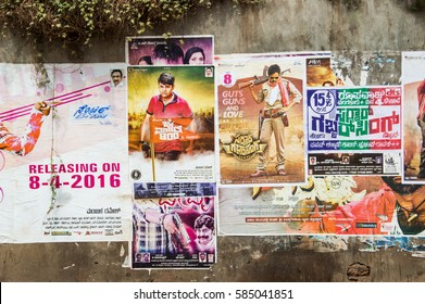 MANGALORE, INDIA - APRIL 16, 2016: Bollywood movie poster on concrete wall