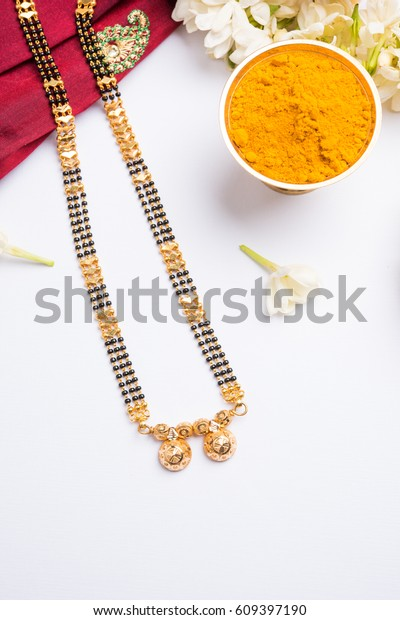 Mangalsutra Golden Necklace Worn By Married Stock Photo