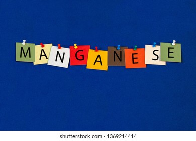 Manganese – one of a complete periodic table series of element names - educational sign or design for teaching chemistry.