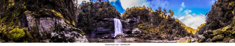 Mangatini waterfall panorama, Charming Creek track, New Zealand