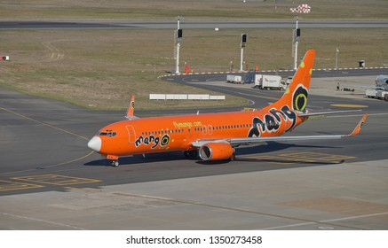 Mango airlines plane taxi on runway. View of full plan and logo at airport in Cape Town , South Africa March 21, 2019