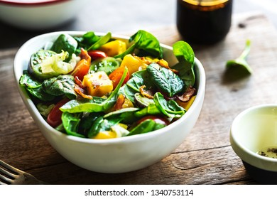 Mango with Bacon Cherry Tomatoes and Spinach Salad by Balsamic dressing