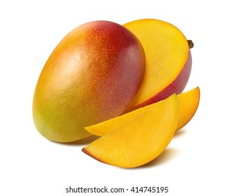 Mango beautiful cut slice half isolated on white background as package design element