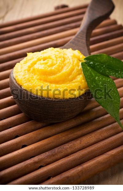 Mango body butter. Healthcare aromatherapy.