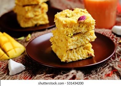 Mango Coconut Burfi. Indian sweets. toning. selective focus