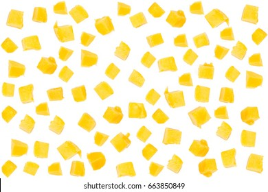 Mango cube isolated white background