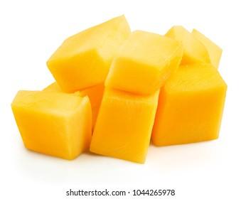 mango cube slices isolated on a white background