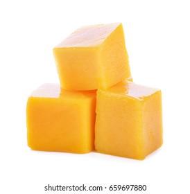 mango cube slices isolated on the white background.