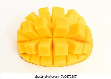 Mango cubed isolated on white background