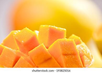 Mango cubes / slices close up / Macro
