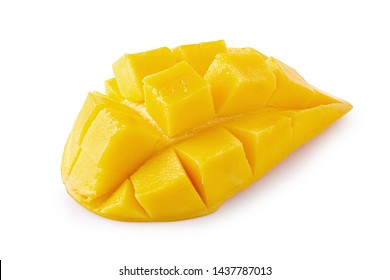 Mango cubes and slices Isolated over white background