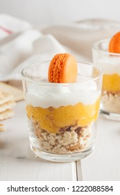 Mango Dessert with mascarpone cheese and macaron.