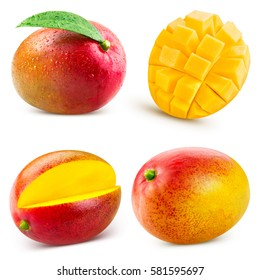 mango fruit collection isolated on white background Clipping Path