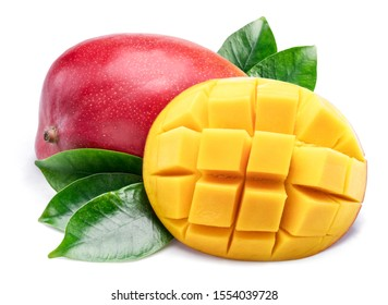 Mango fruit with mango cubes and leaves. Isolated on a white background.