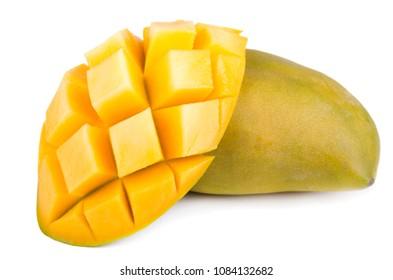 Mango fruit, cubes and mango slices, isolated on a white background